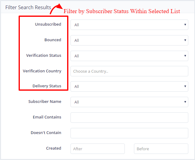 Filter by Subscriber Status