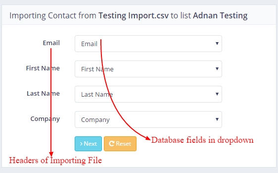 Headers in Importing File