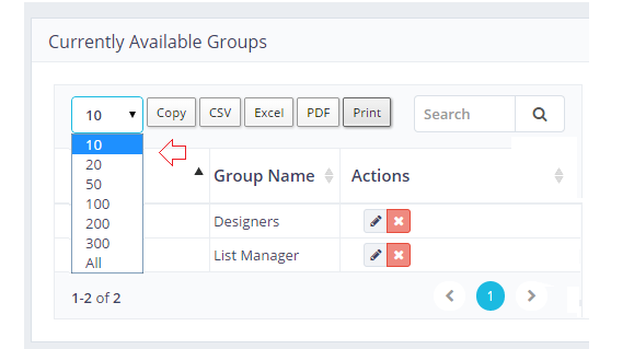 Records per Page-User Groups